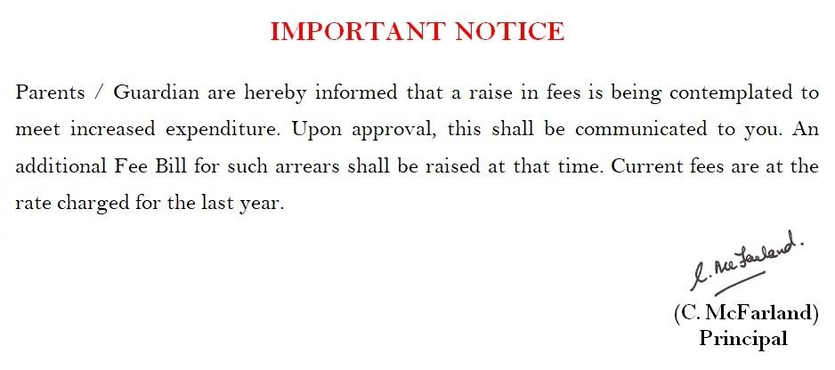 Notice regarding fees