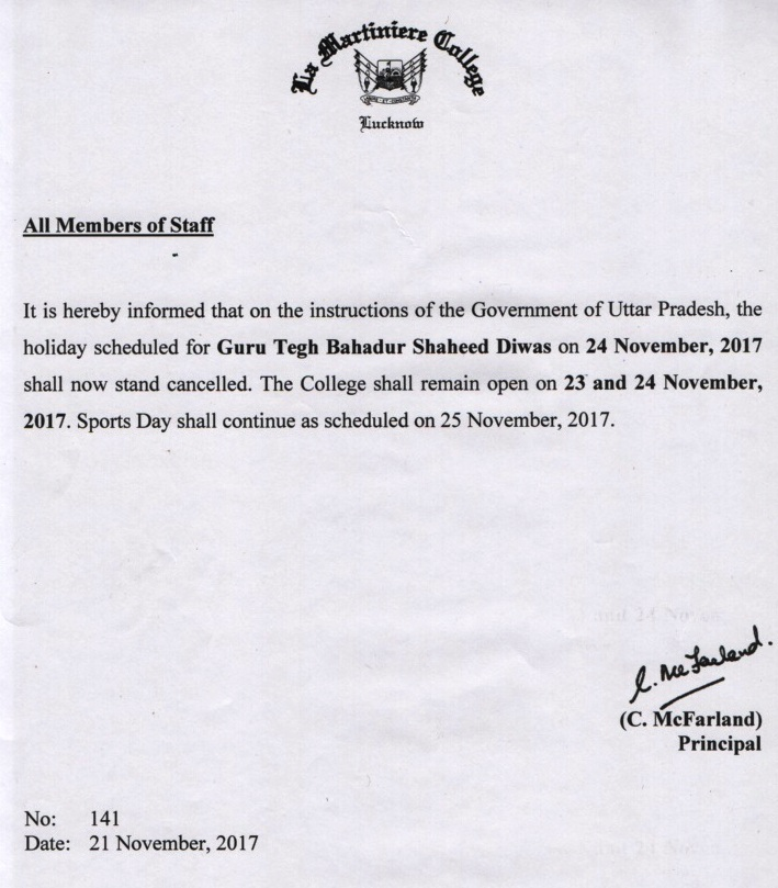 Notice Regarding Cancellation Of Holiday
