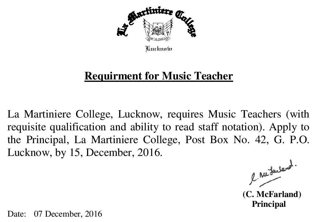 Requirment for Music Tecaher